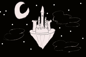 A poorly drawn castle on a floating island in the middle of a starry sky with a poorly drawn crescent moon above it.