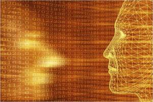 An image showing two wire mesh human faces staring at each other in an amber/orange field of numbers.