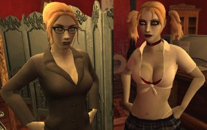 Sisters of Janus: Therese and Jeanette Voerman from Vampire the Masquerade: Bloodlines. Both blonde haired, pallid women, one wearing a dark grey business suit and black rimmed glasses, the other wearing a stylised schoolgirl's outfit, bra and thong visible, and a blood red choker. She also wears deep makeup.