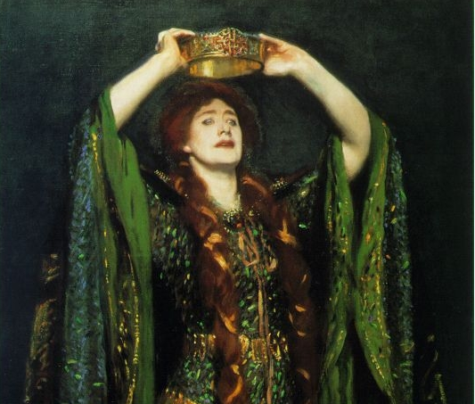 A magnificent painting by John Singer Sergeant of Lady Macbeth, as played by Ellen Terry; she wears a resplendent green dress and is on the cusp of crowning herself.
