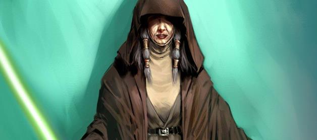 Kreia against a teal background. She wears a dark brown, hooded robe that covers her eyes, has grey hair braided with golden bands, and wields a green lightsaber.