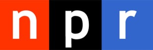 NPR's logo, N in a red box, P in a black one, r in a blue one.