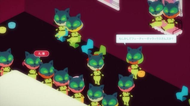 A screenshot of the GalaX world from Gatchaman Crowds showing several cute avatars wearing masks gathered around a virtual table and having a meeting.