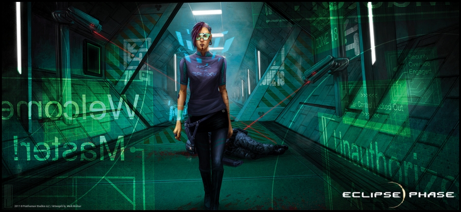 "An androgynous woman striding confidently down a green hallway wearing a shirt that says ""Hack the Galaxy"", the air around her alive with holographic screens, a guard behind her laying incapacitated from ongoing laser fire, approaching a door where screens warn her she is unauthorised."