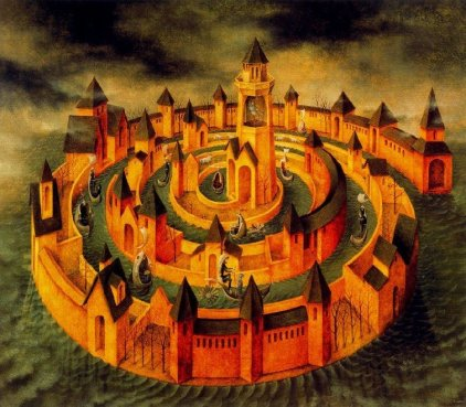 A classic, surrealist painting of a castle in a spiral configuration converging on the centre, its channels in between populated by figures.