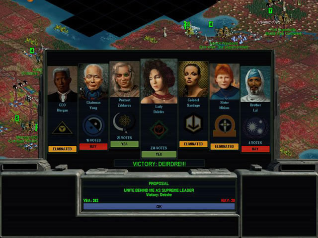 "A screenshot from Alpha Centauri showing a panel superimposed on the game screen with portraits of the seven leaders, each with a glowing ""Yay"" ""Nay"" or ""Eliminated"" beneath their names; this is the game's diplomacy screen."