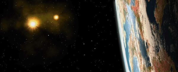 An earth like planet set against the deep of space with two yellow suns glowing in the backdrop.